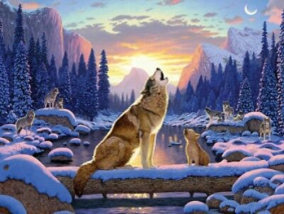 Beautiful Matted Blue Moon Wolf Foil Art Print~Affordable Art~8x10
