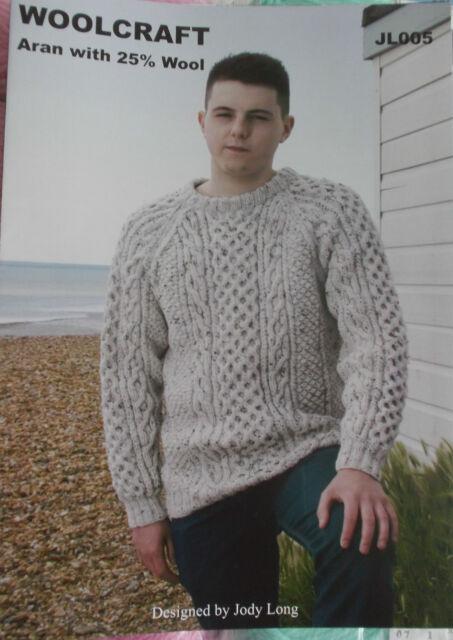 Mens Knitting Pattern Aran With 25 Wool Woolcraft Jl 005 Ebay