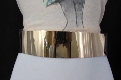 Women White Black Elastic Waistband Fashion Belt Hot Gold Metal Plate Mirror S M