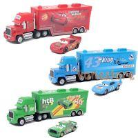 3 X Disney Pixar Cars Mack McQueen & Chick Hicks & King Truck Combinations Loose