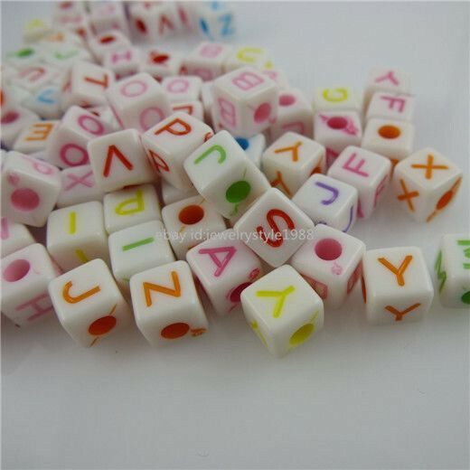 11793 6.5mm 200PCS MIXED Mini Square Cube Letter Alphabet Loose Bead Spacer Bead