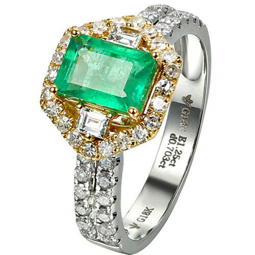 Solid 18K Two-Tone gold 1.3CT Octagonal Natural Emerald 0.72CT Diamond fine Ring