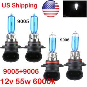 2X-9005-amp-9006-55w-Halogen-Xenon-Headlight-Light-Bulb-6K-White-Hi-Low-Beam-New