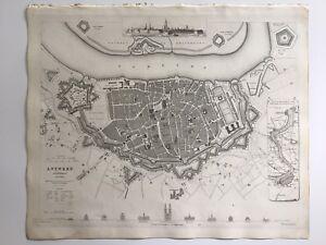 Belgium Topographic Map.Details About Vintage Original 1845 Topographic Map Drawings Antwerp City Belgium