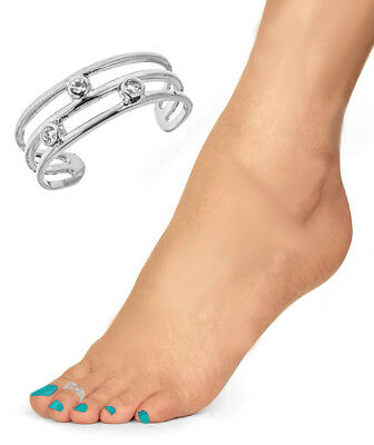 Sterling Silver 3 CZ Band Toe Ring
