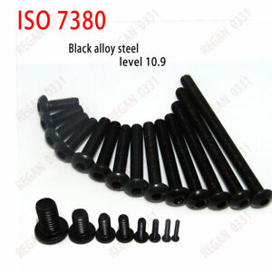 25-50-100x-M3-Black-Alloy-Steel-Allen-Hex-Socket-Button-Head-Screw-Bolt-ISO7380