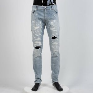BALMAIN-895-Destroyed-Skinny-Jeans-In-Blue-Stretch-Cotton