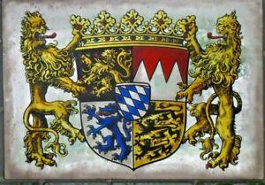 """Bleiverglasung altes Fensterbild traditionelle Glasmalerei """"Bayern- Wappen"""""""
