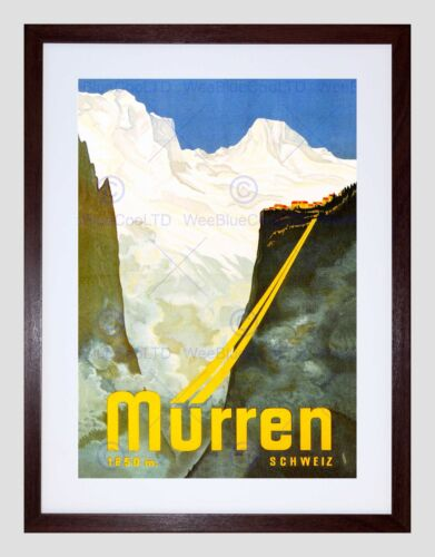 TRAVEL MURREN SWITZERLAND SNOW MOUNTAIN ALPINE RESORT SKI FRAMED PRINT B12X6475