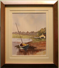 Original Watercolour Painting MOORED SAILING BOATS by Irish Artist LYDIA BOAL