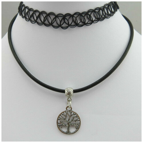 STRETCH TATTOO CHOKER /& REAL LEATHER CORD NECKLACE PENDANT HIPPY TIBETAN SILVER