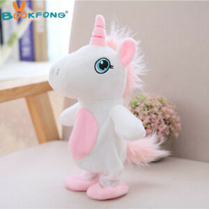 White Talking Unicorn Stuffed Animal Plush Toy Electronic Sound Record