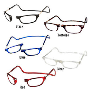 15bc6523edd Image is loading CliC-Magnetic-Reading-Glasses-Hangs-around-neck-snaps-