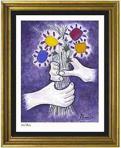 Pablo-Picasso-Signed-Hand-Numbr-Ltd-Ed-034-Bouquet-of-Peace-034-Litho-Print-unframed