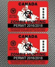 2x Canada Zombie Hunting Permit Decals Sticker Die Cut Outbreak Response