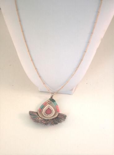 Thalia Sodi gold tone multi color fringe pendant necklace