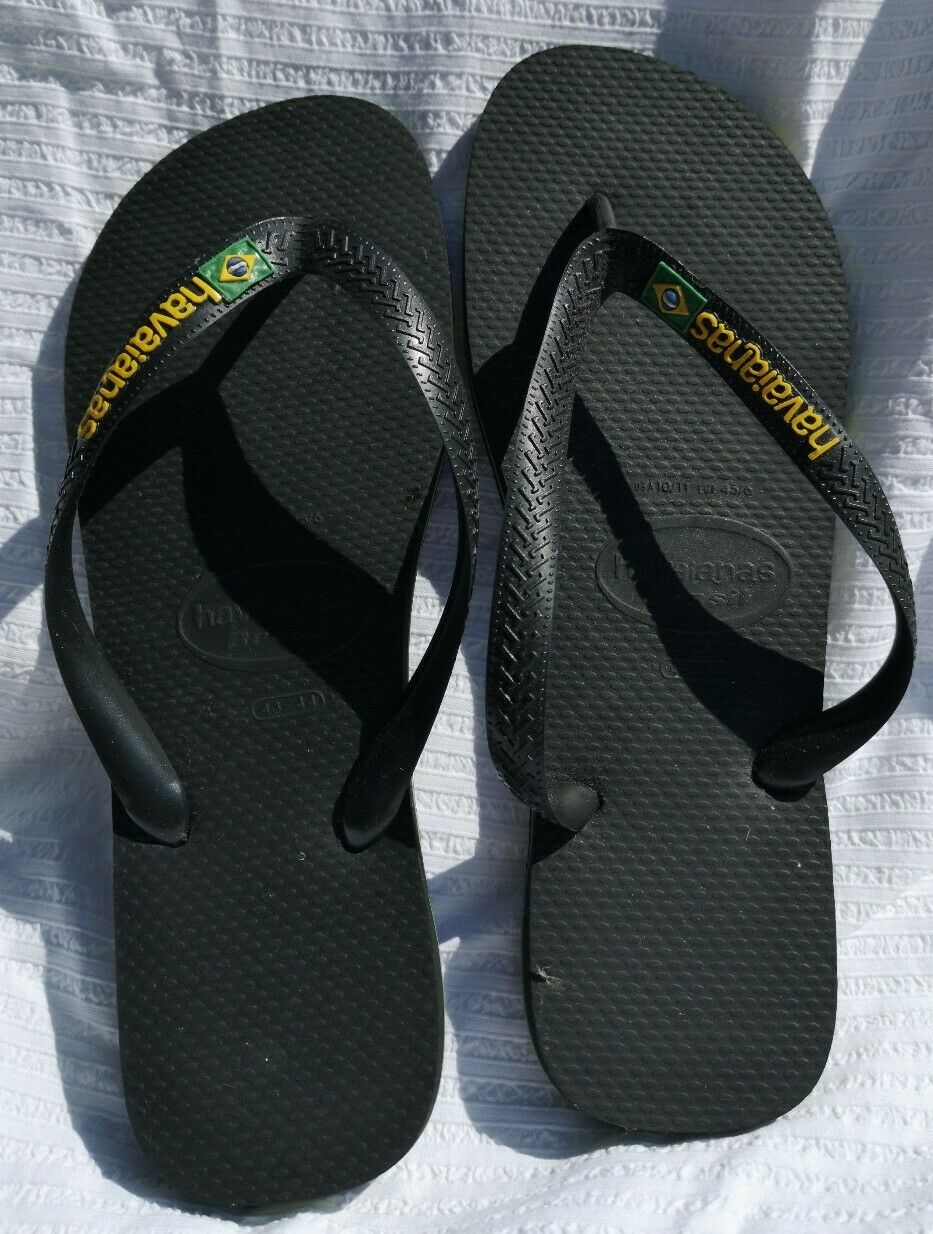 Havaianas Men's Brasil Black Flip Flops Size EUR 45-46 UK 11-12 - Good Used