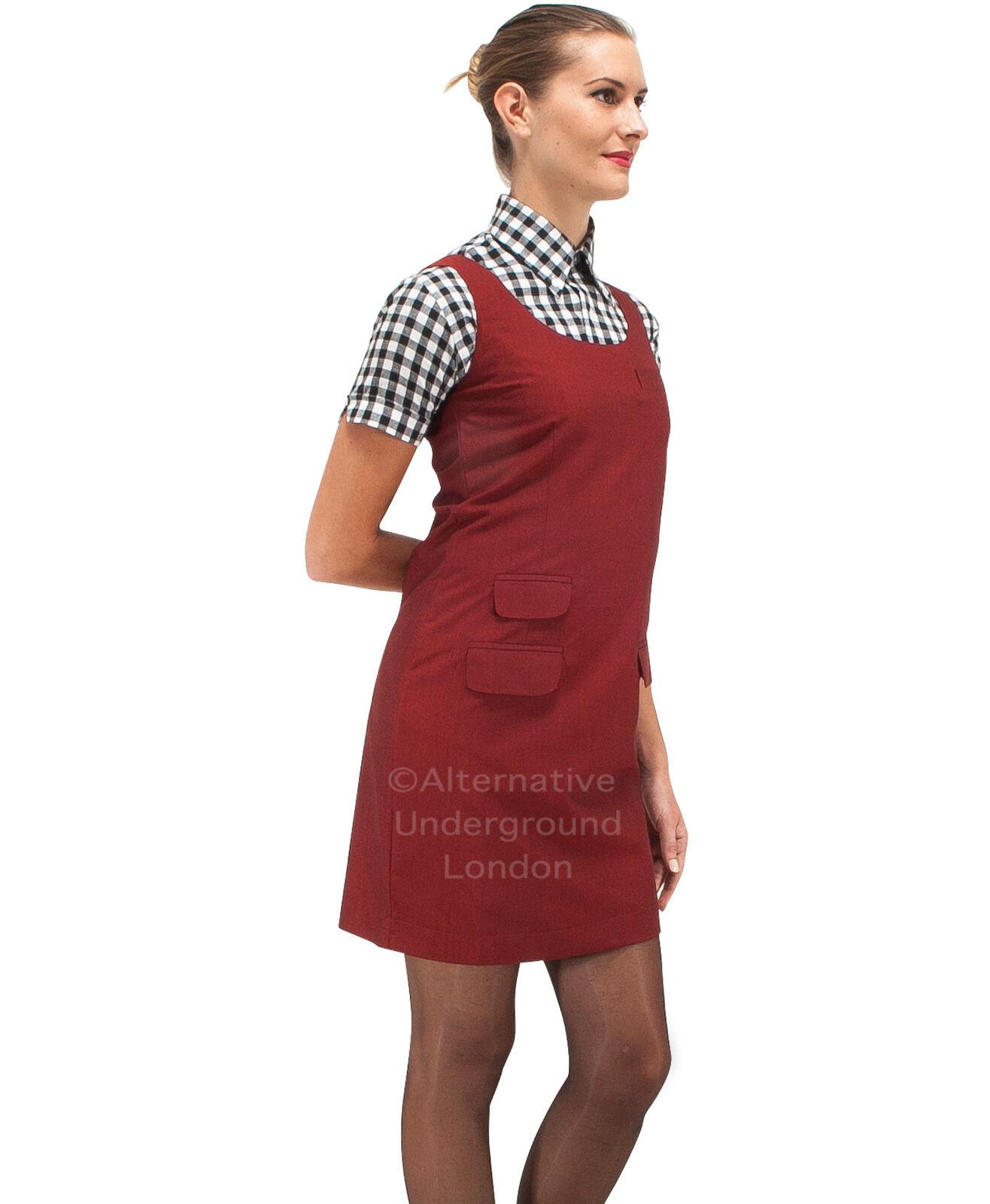 Relco LINEA DONNA Borgogna TONIC due toni Pinafore Pinafore Pinafore DRESS 60s Mod Skin Ska skinbryd d7cedf