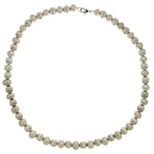 TOC-Baroque-Synthetic-White-Pearl-amp-Silvertone-Bead-Ball-Necklace-18-034