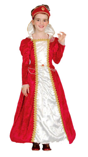 Girls Royal Red Queen Tudor Medieval Princess Fancy Dress Costume Outfit New 4-6