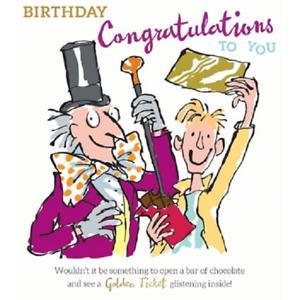Roald Dahl Charlie Choccolate Factory anniversaire Félicitations Carte RD003