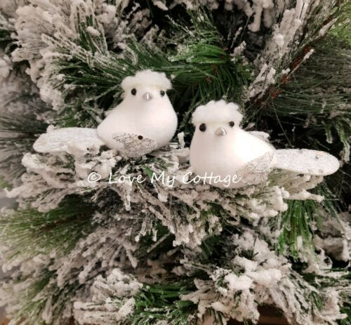 Set of 2 Cute White Clip On Fluffy Birds XMAS Tree Decorations Wedding Vintage