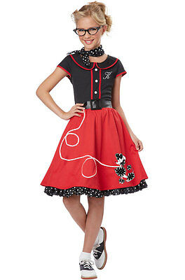 Grease 50's 50s Poodle Dress Sweetheart Child Costume (Black/Red)
