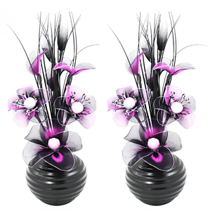 2 deko vasen mit k nstliche seiden blumen geschenksidee oval violett schwarz ebay. Black Bedroom Furniture Sets. Home Design Ideas