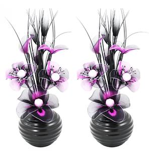 2 deko vasen mit k nstliche seiden blumen geschenksidee oval violett schwarz ebay. Black Bedroom Furniture Sets. Home Design Ideas