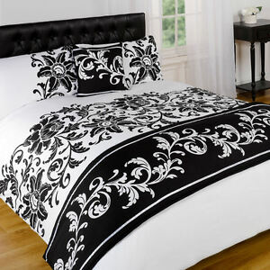 Asha White Black Floral Duvet Bedding Set Bed In A Bag Cushion Cover