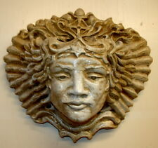 Huge Vintage Green Leaf and Grapes Woman Face Wall Planter Greek Bracket