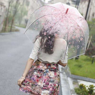 Transparent umbrella Long Handle Cute Women's Umbrellas Beautiful Sakura