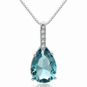 925-Sterling-Silber-Halskette-Wassertropfen-Blau-Kristall-Anhaenger-Dame-Geschenk
