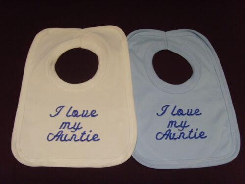 Funny Embroidered Personalised Bib Baby Shower Gift I love my auntie