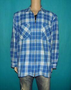 chemise-vintage-LEVI-039-S-annee-80-avec-zip-a-carreaux-bleu-taille-L