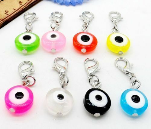 Free 50pcs Turkish Mixed Evil Eye Charms lobster Clasp Dangle Charms 32x11mm