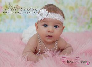 59cde59f6c4a28 Das Bild wird geladen Princess-Dreams-Luxus-Baby-Haarband-Taufe-127-weiss-