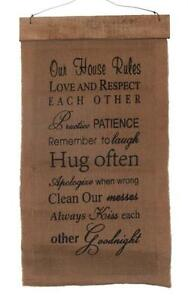 """Our House Rules Vintage Nostalgic Home Decor Burlap Wall Hanging 28"""" x 15"""""""