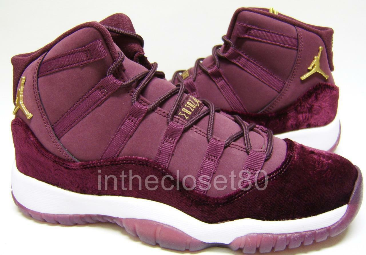 Nike Air Jordan 11 Retro Heiress GS Velvet Night Maroon Womens Girls 852625 650