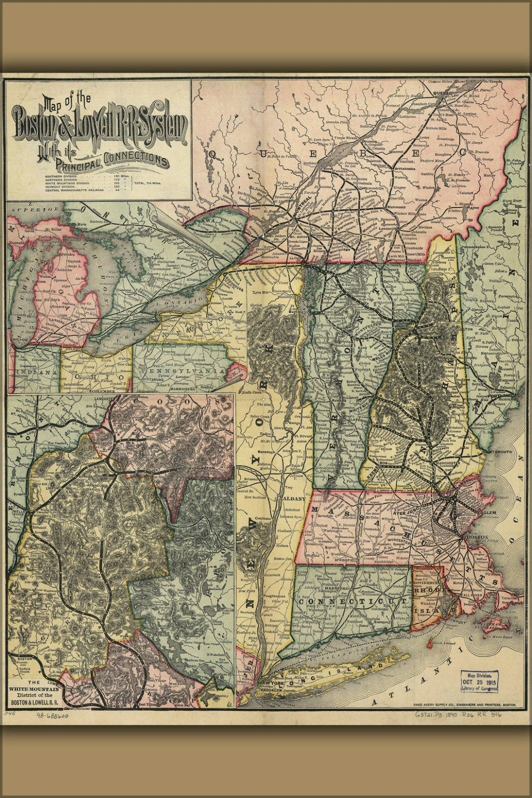 Poster, Many Größes; Map Of The Boston And Lowell Railroad 1886
