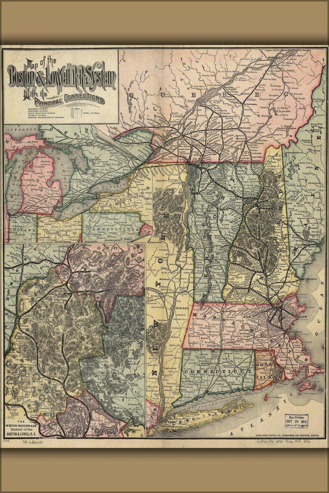 Poster, Molte Misure; Map Of The Boston e Lowell Ferrovia