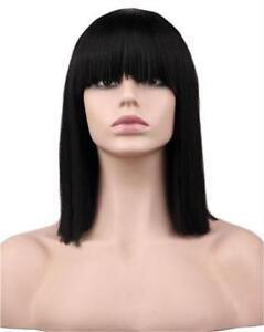 Bob-Style-Wig-Costume-Lady-Short-Neat-Bang-Synthetic-Hair-Straight-Black-Cosplay