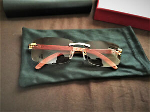 2e927cbbd2f6b Image is loading Cartier-Rimless-Wood-Sunglasses-Size-58-18-140mm-