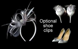 New-silver-grey-fascinator-on-clip-comb-or-Alice-band-amp-optional-shoe-clips