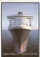 CUNARD - QUEEN MARY 2 MAIDEN VOYAGE COLOUR POSTCARD