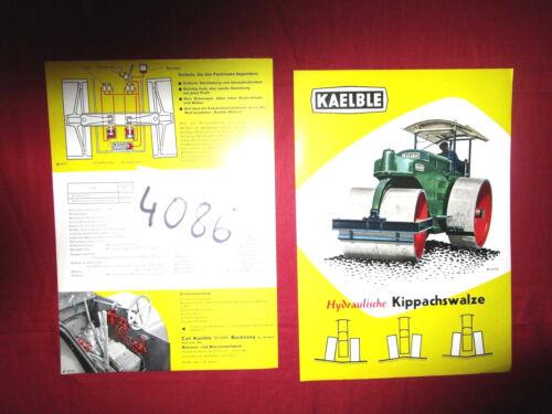 N°4086 / KAELBLE : prospectus  hydraulische Kippachswalze   juillet 1958