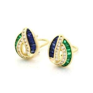 2-00-Ct-Emerald-amp-Sapphire-Diamond-Omega-Back-Earrings-18k-Yellow-Gold-Finish
