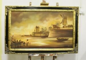 Painting-Oil-Picture-Frame-Sea-Ships-95509