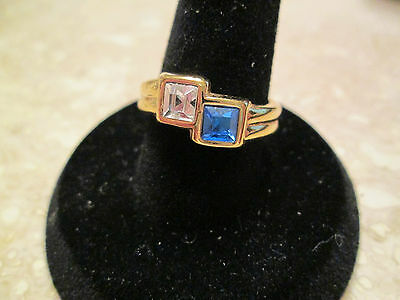 Vintage Avon Size 7 Bold Stackable Ring Faux Sapphire