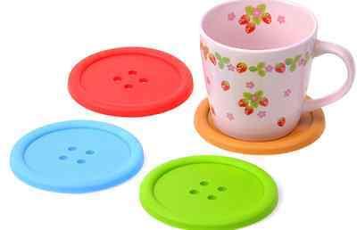 Cute Button Coaster Silicone Cup Home Drink Tableware Fun coaster UK